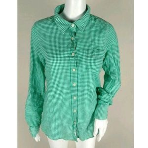 J crew gingham check button down blouse